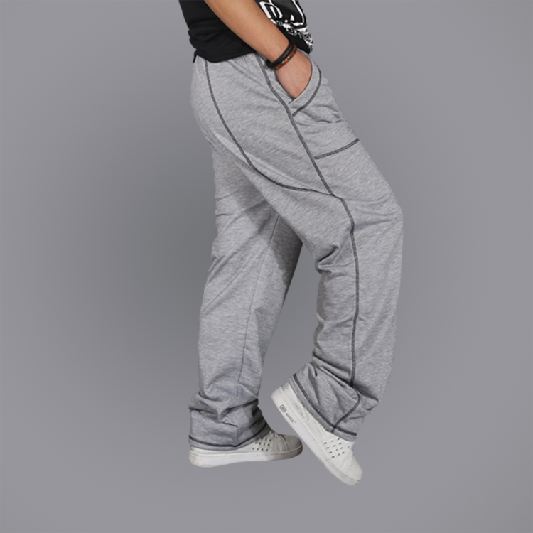 Spring Autumn Tide Mens Loose Hip-Hop Baggy Style Casual Pants 2 Color Elastic Mid-Waist ...