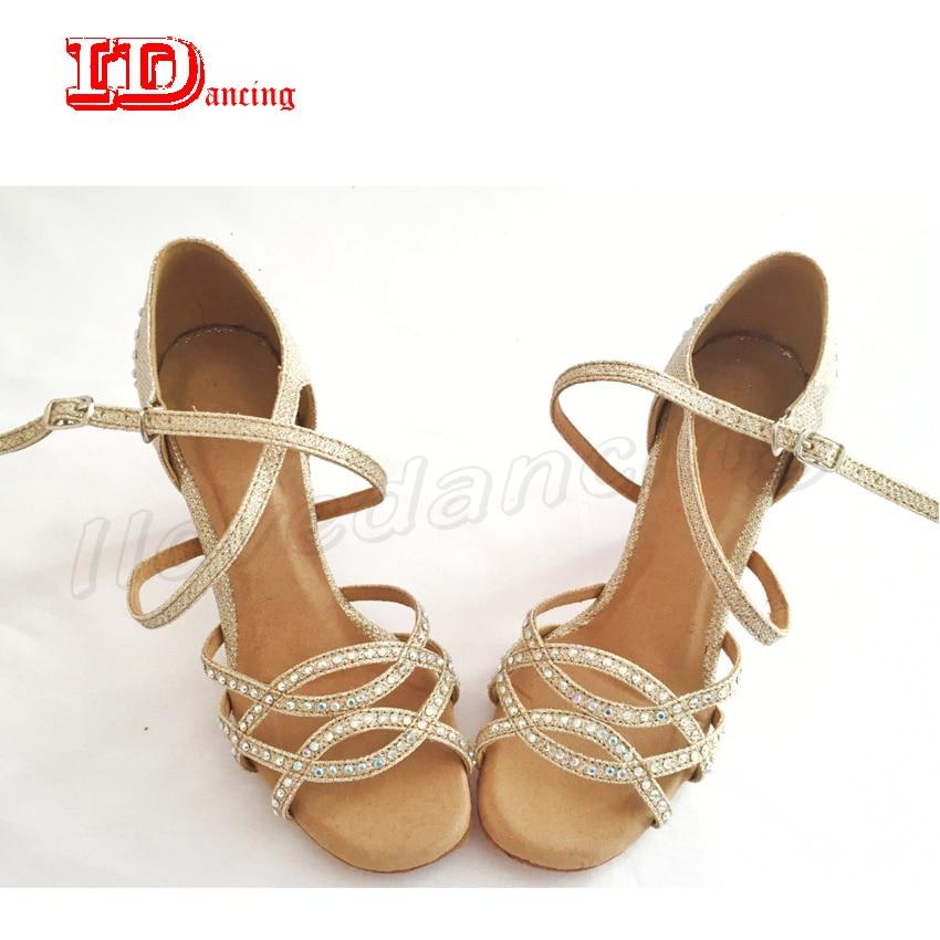 Jazz Shoes Women Sneakers Dance Ladies Flamenco Dance Shoes Rhinestone Ballroom Latin Dance Shoes Light brown plus size IDancing