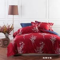 Beautiful Plum Blossom Elegant Red Bedding Set Luxury Duvet Cover Sheet Pillow Case Long Staple Cotton 2 size L/XL 4 Pcs/set