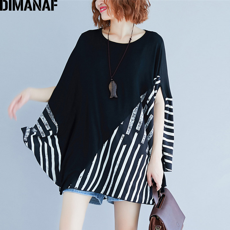 DIMANAF Plus Size Women   Blouse     Shirts   Lady Tops Tunic Cotton Big Size Loose Casual Female Clothes Batwing Striped Spliced 2019