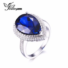 Jewelrypalace Luxurious Pear Lower 7ct Created Blue Sapphire Strong 925 Sterling Silver Engagement Ring Nice Jewellery for Girls