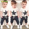 New2016 лето стиль мальчик одежда мода хлопок baby set повседневная коротким рукавом девочка одежда печатных футболку + брюки 2 шт. наборы