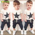 New2016 summer style baby boy clothes fashion cotton baby set casual short sleeved girl clothing printed t-shirt+pants 2pcs sets