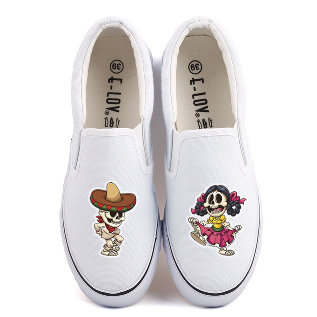 US $23.45 49% OFF|Funny Halloween Monster Printed Women Flat Loafers Shoes Custom Witch Skeleton Canvas Shoes Casual Slip On Design Halloween Gift in