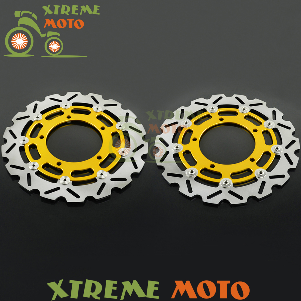 2Pcs Gold Motorcycle Front Floating Brake Disc Rotor For GSR400 GSR600 GSF650 GSR750 DL1000 GSF1200 <font><b>GSF1200S</b></font> GSF1250 GSX1300 image