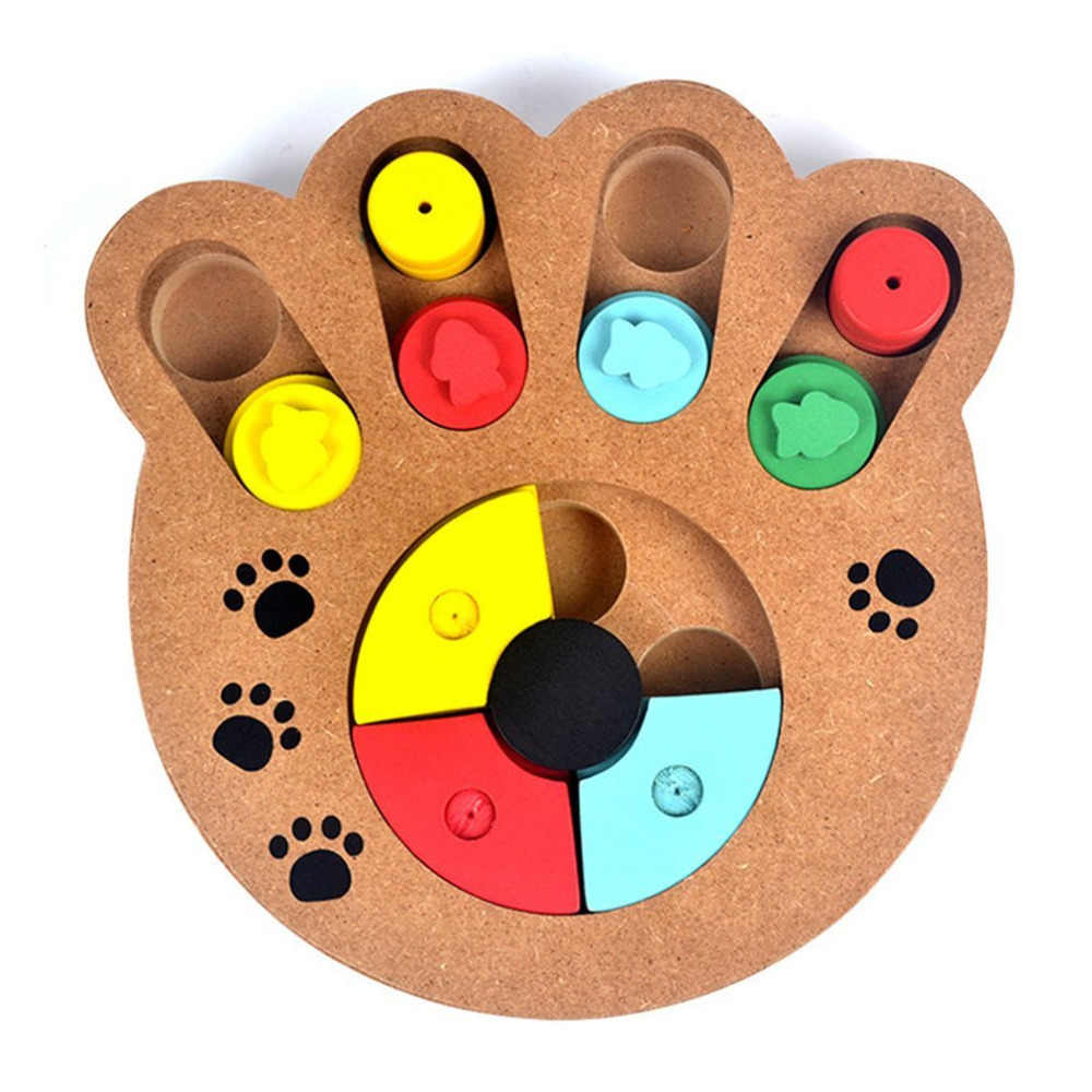 Natural Food Treated Wooden Paw Shape Pet Dog Cat IQ Training Toys Educational Feeding Game Paw Puzzl Plate Juguetes Para Perros