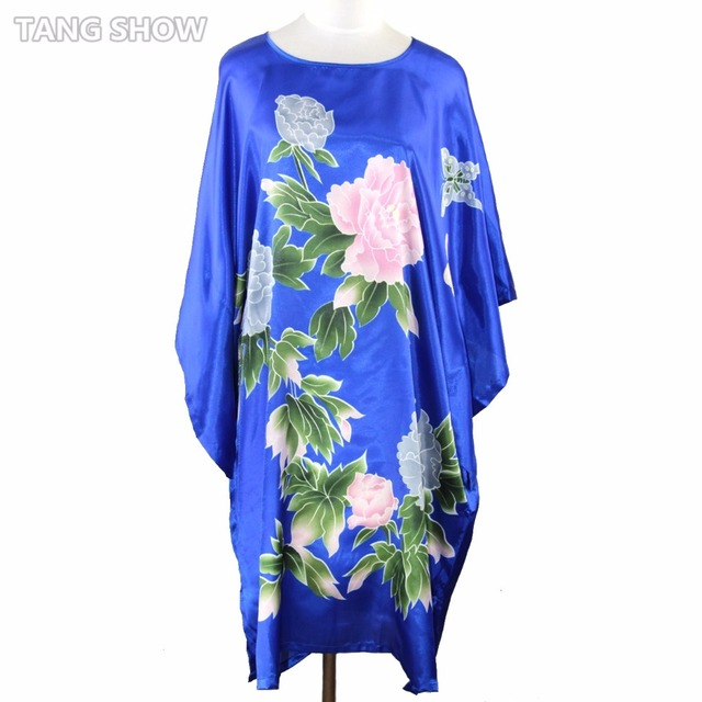 Hot Sale Blue Chinese Women's Silk Sleepwear Robe Summer Lounge Home Dress Printed Flower Yukata Nightgown Plus Size RB070