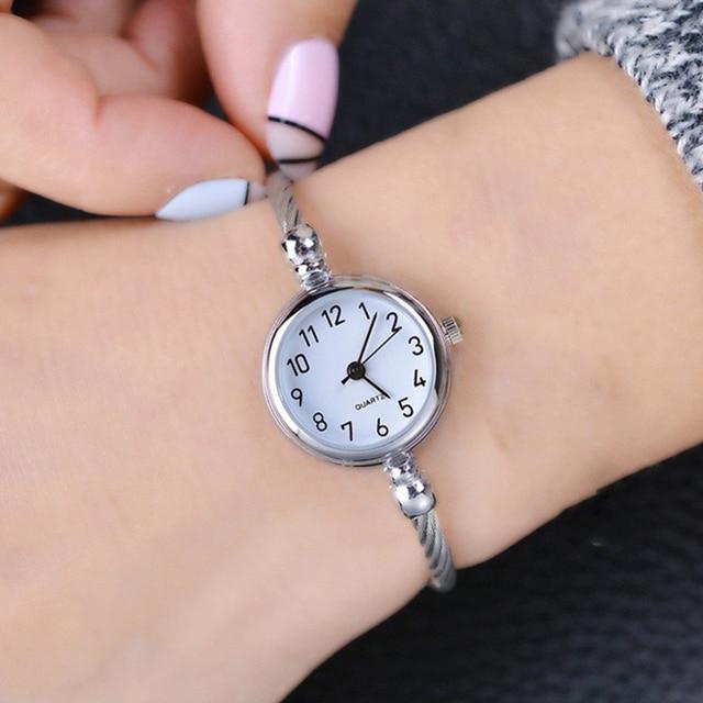 Ulzzang Retro Rose Gold Women Bracelet Watches Fashion Small Mini Ladies Hour Qu