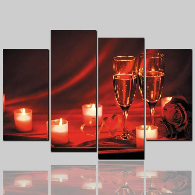 4pcs Wine Glass Wall Art Oil Painting Unframed Colourful HD Flowers ...
