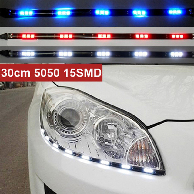 Newest 2pcs x 30cm 5050 15 smd DRL parking light led Car Styling Flexible LED Daytime Running Lights waterproof white blue red