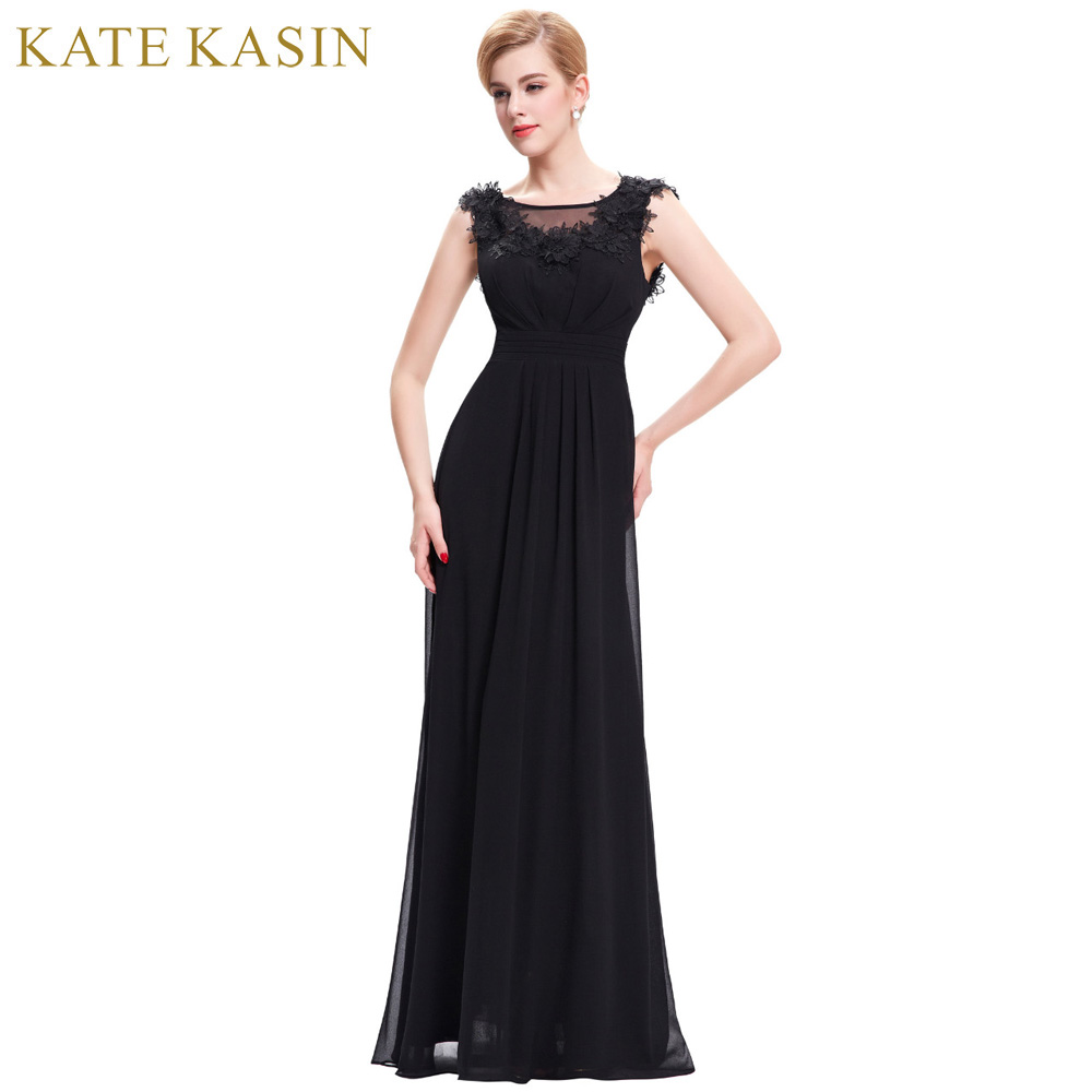 Black dress for wedding party - Kate Kasin Black Mother Of The Bride Dresses For Wedding Party Floor Length Chiffon Feather Mother
