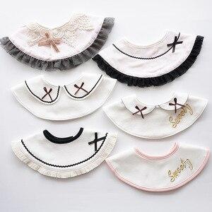 Japanese Style Round Baby Girls Bibs Saliva Towel Cute Lovly Bib Fake Collar Rotatable Tassels Burp Cloth Baby Care Use