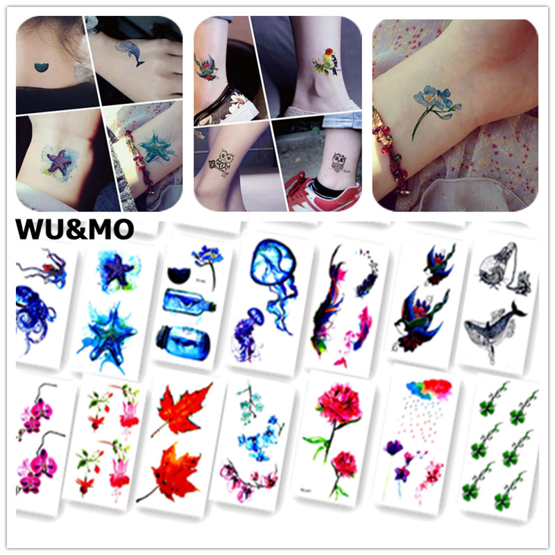 Colorful Ocean Fish Flower Body Art Sexy Harajuku Waterproof Temporary Tattoo For Man Woman Henna Fake Flash Tattoo Stickers