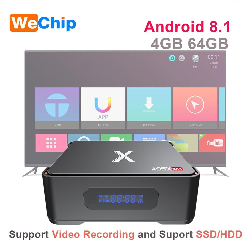 A95X MAX Android 8.1 TV Box 4G 64G Amlogic S905X2 2.4G+5G Wifi BT 4.2 1000M 2G 32G Set Top Box Support Video Recording TV BoxA95X MAX Android 8.1 TV Box 4G 64G Amlogic S905X2 2.4G+5G Wifi BT 4.2 1000M 2G 32G Set Top Box Support Video Recording TV Box