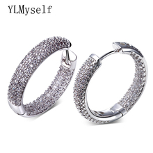 Hoop earring for night bar party Women Circle Earrings Micro setting Cubic Zirconia crystal allied express bijoux Jewelry