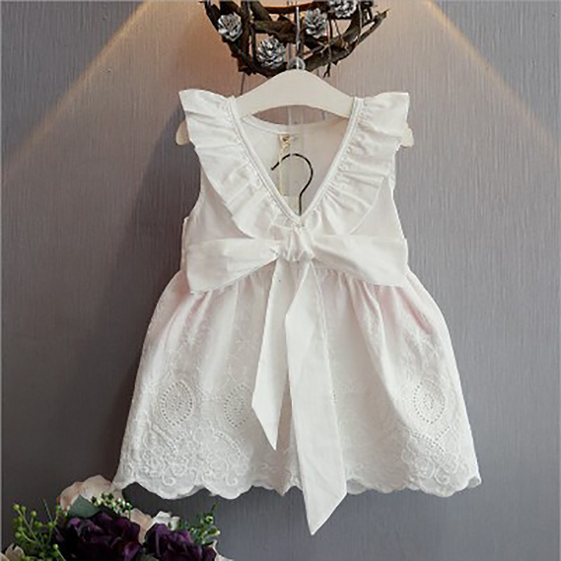 GUMPRUN 2018 New Costume Cotton Girls Princess Dress Summer Sleeveless Dresses Kids Clothes Solid White Bow Party Dress Vestido new summer dress sequined flowers bow kids dresses for girls clothes solid birthday party robe princess dress wedding vestido