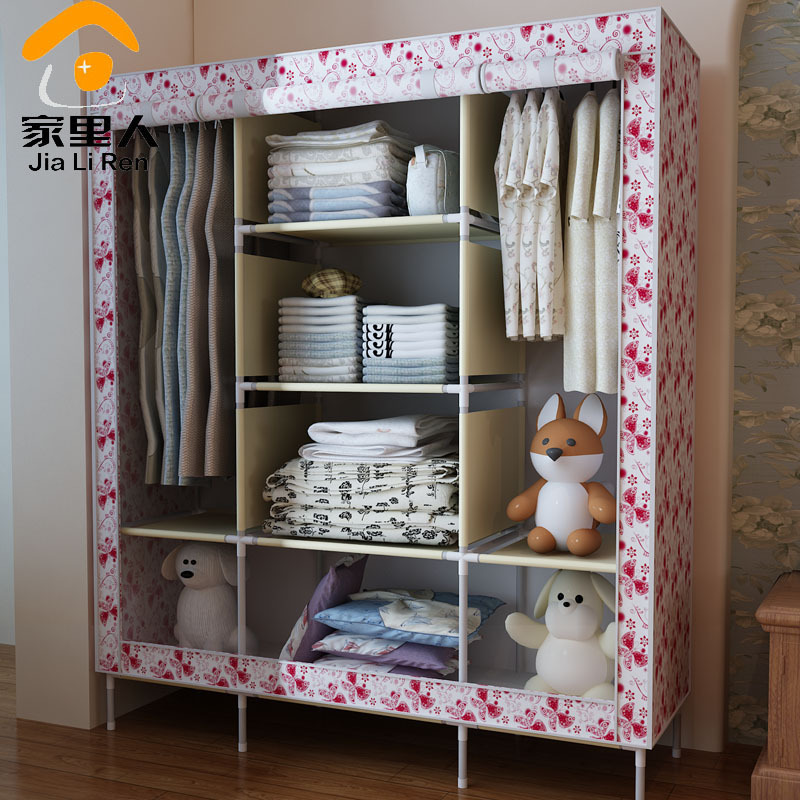 Beautiful Double Queen Wardrobe Simple Wardrobe Closet Large Capacity Dust Cloth  Clothes Storage Cabinets Roll Curtain(