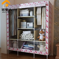 Double Queen wardrobe simple wardrobe closet large capacity dust cloth clothes storage cabinets roll curtain