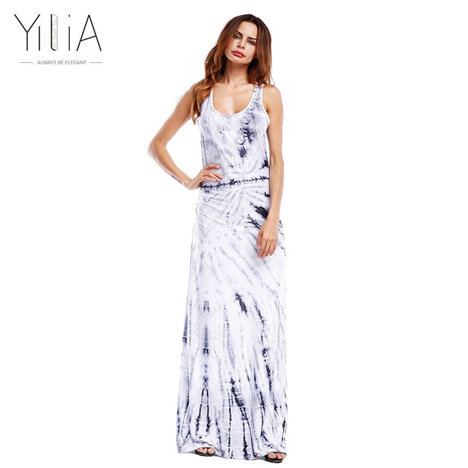 Yilia Cool Style Print Long Maxi Tank Dresses Loose Casual
