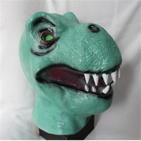 2017 New Halloween TOY Party Cos Mask Reality Green Dinosaur Latex Mask Adult Cosplay Fancy Dress Props For Party Animal Masks