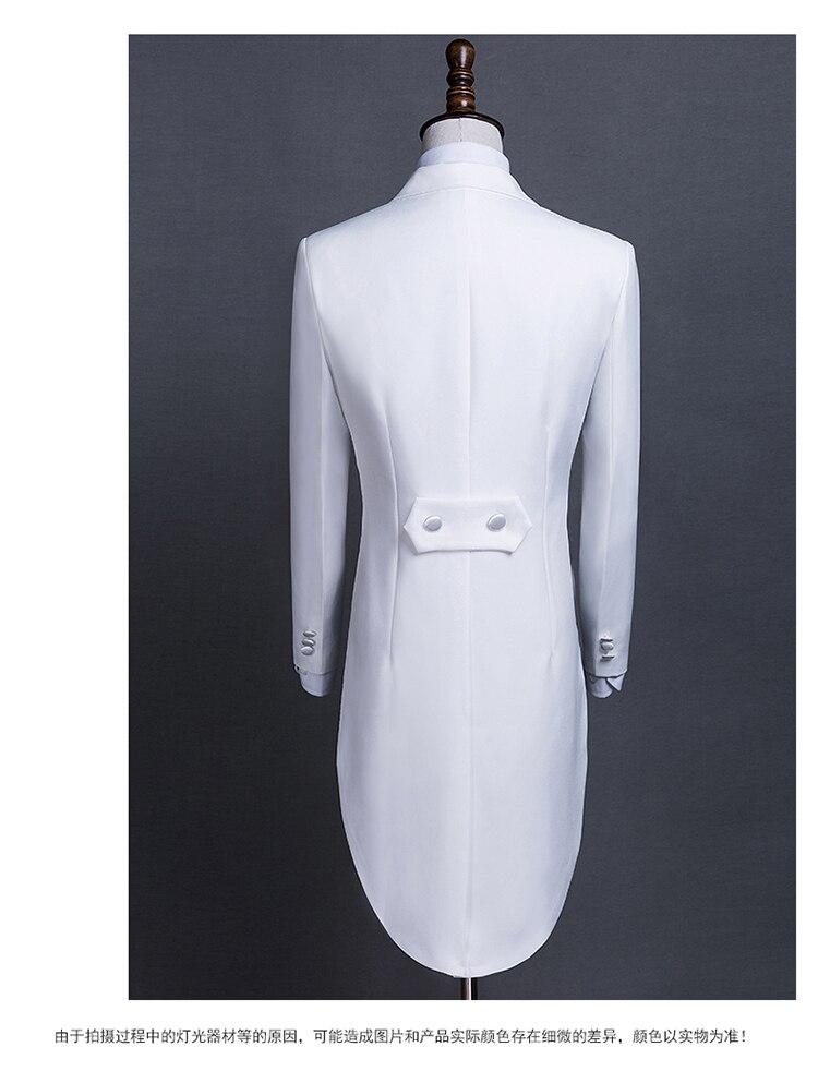 PYJTRL nouvelle grande taille S-4XL hommes classique noir blanc brillant revers queue manteau smoking mariage marié scène chanteur quatre pièces costume - 2