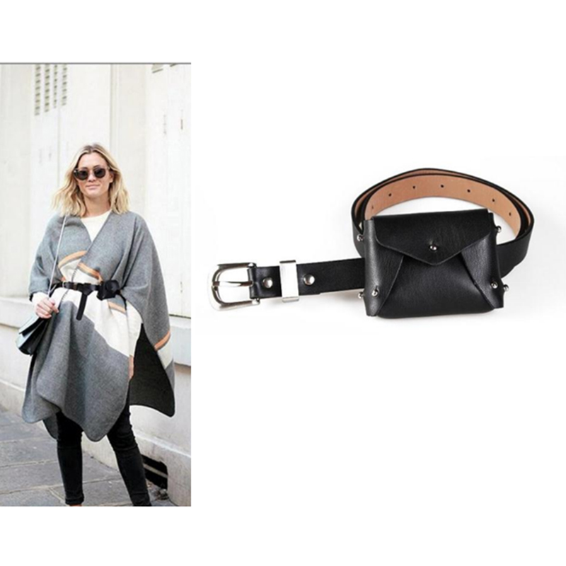 ABDB PU Leather Waist Packs Fanny Pack Belt Bag Phone Pouch Bags Travel Waist Pack women Small Waist Bag Leather envelope Pouch