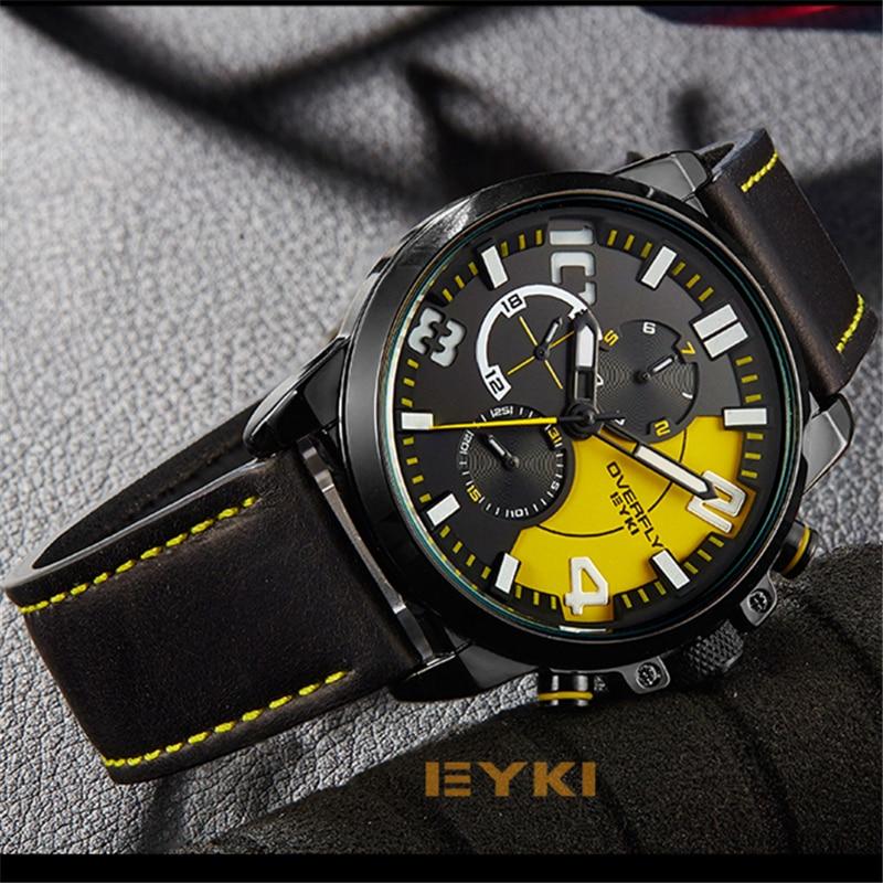 Men Sport Watches EYKI Luxury Brand Man Quartz Watch Men Clock Genuine Leather Military Date Wristwatch Black Meskie Zegarki