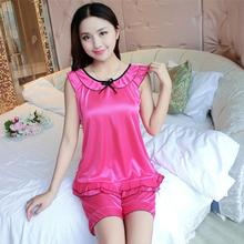 Women Fashion Summwr Sexy vest pajamas home service suit Sleepwear 2PC Set Pajamas For