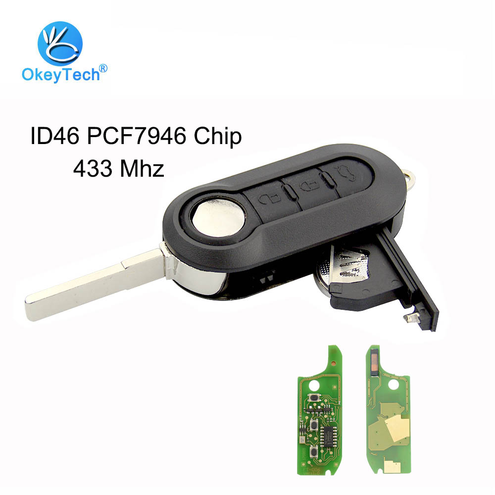OkeyTech for Fiat Remote Control Key 433mhz ID46 PCF7946 Chip 3 Button Flip Folding for Fiat 500 Bravo Ducato Grande 2010 2016-in Car Key from Automobiles & Motorcycles