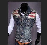 2016 Summer Style Designer Fashion Brand Men S Casual Denim Sleeveless Vest Cotton Slim Pop Denim
