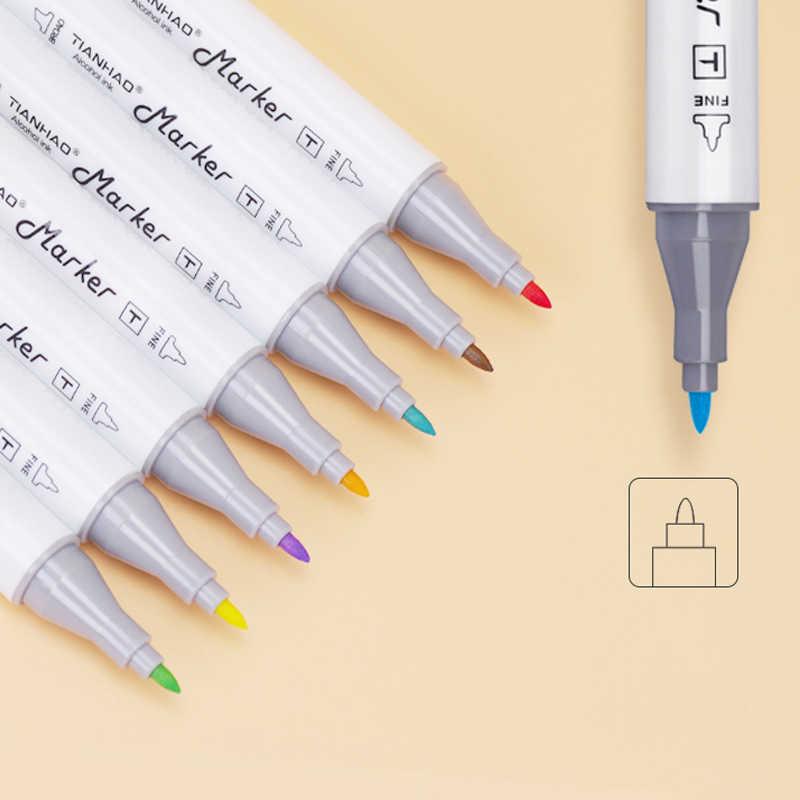 Marcador de arte 168 colores marcador a base de alcohol rotulador de doble cabeza Sketch brocha pluma arte marcador set arte suministros papelería