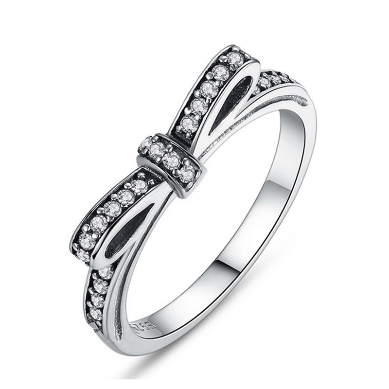 Romad Hot Sale Ring Sparkling Bow Knot Stackable Rings for Women Micro Pave CZ for Valentines Day Gift Jewelry bague femme 2018