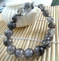 001972 natural genuine black tourmaline quartz stretch bracelet