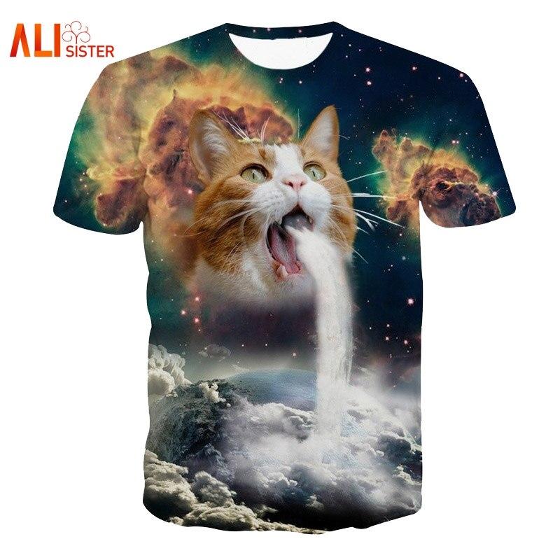 T-Shirt do Gatinho Gato Vomitar UMA Cachoeira Solar Na Terra Vibrante 3d Gato Camiseta Galáxia Nebulosa Espaço T Shirt Tops para As Mulheres Homens