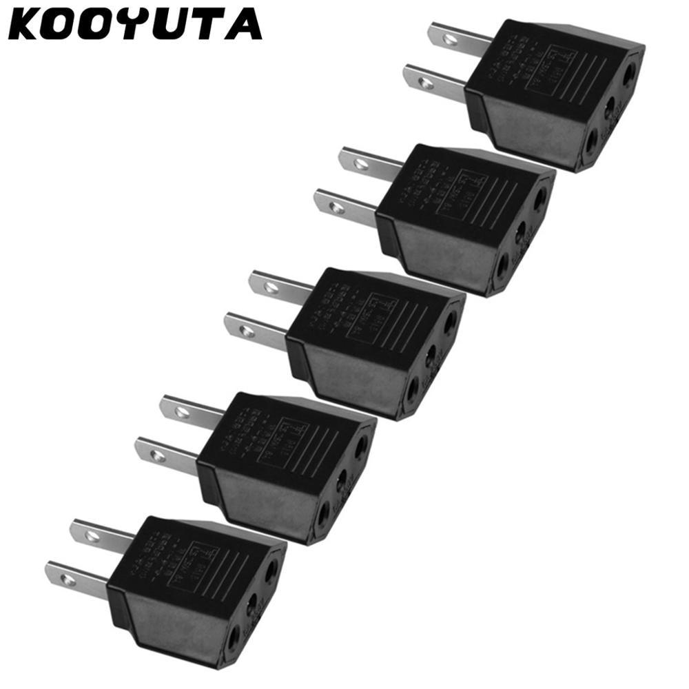 5 pçs/lote eua ue plug adapter ue para eua viagem adaptador de energia elétrica tomada conversor conversor americano europeu tomada fs