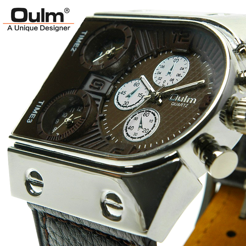Brand Oulm Watch Quartz Sports Men Leather Strap Watches Fashion Male Military W