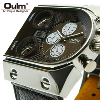 Brand Oulm Quartz Analog Sport Running Leather Strap Watches Men Military Wristwatches Drop Shipping Free Shipping