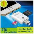 Tudo em 1 otg para android telefone, compatível com o dispositivo de iluminação, transmissão de dados e carregamento leitor de cartão sd tf para iphone samsung