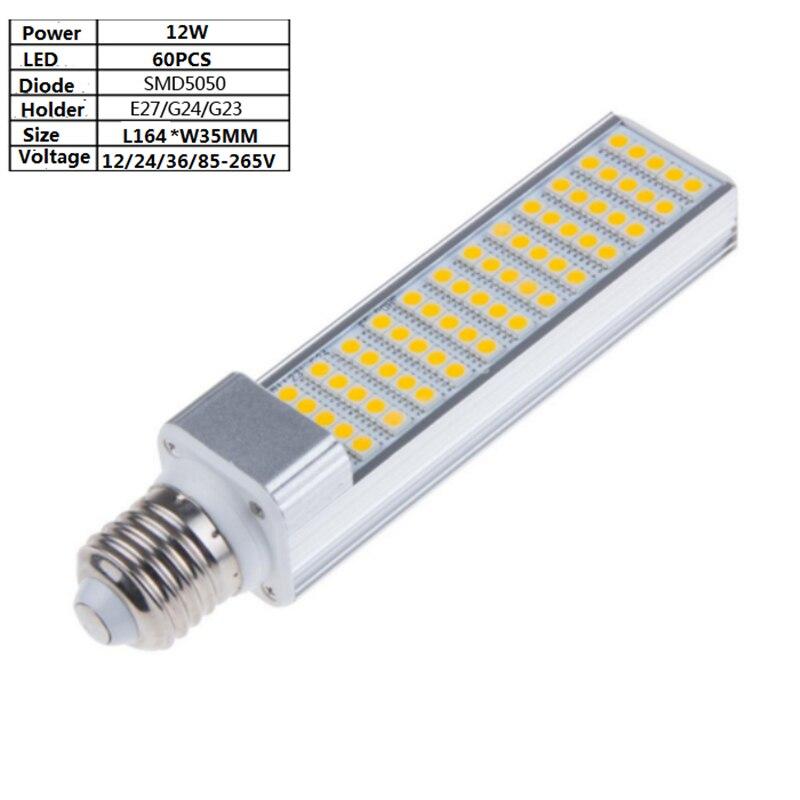 12W 60PCS 5050 LED E27/G24 12V/24V/36V 85-265Vac led corn lamp ,100LM/W 164mm Horizontal lamp for desk ,wall light, pendant lamp