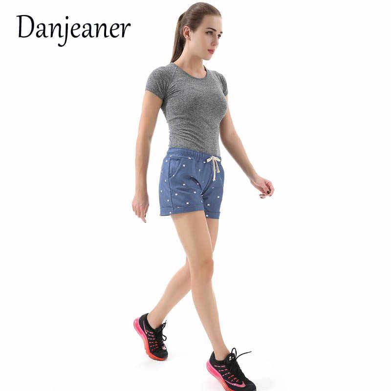 Danjeaner krótki Feminino kot głowy drukowane wysokiej talii szorty damskie lato elastyczna czeka krótkie spodnie kobieta Sport gorące spodnie