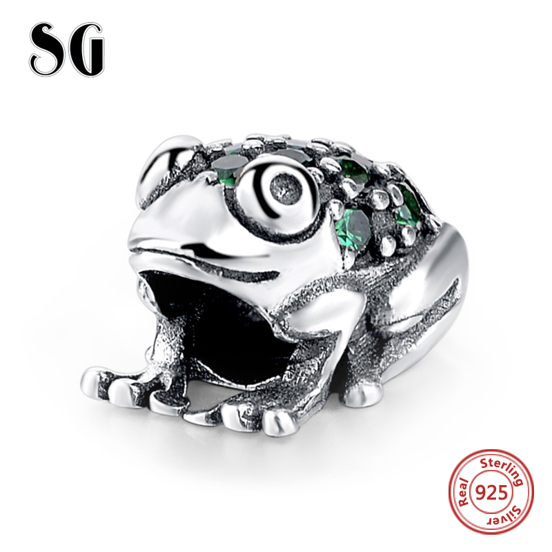 2017 New Style 925 Sterling Silver Cute Animal Frog With Green CZ Charms Beads Fit Authentic pandora charm for jewelry Gifts