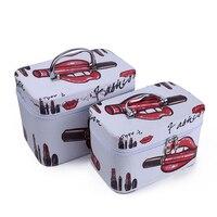 2pcs Set High Quality Empty Travel Box Zipper Portable Large Capacity Cosmetic Box Makeup Set