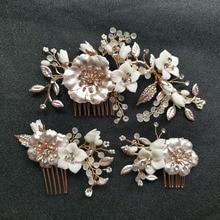 цены на SLBRIDAL Handmade Golden Crystal Rhinestones Pearls Ceramic Flower Wedding Hair Comb Set Bridal Hair Accessories Women Jewelry  в интернет-магазинах