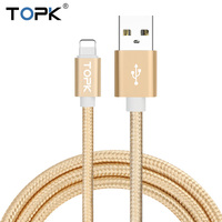 Topk Ultra Durable Nylon Braided Wire Metal Plug Data Sync Charging Data Phone USB Cable for iPhone 7 6 6s Plus 5s 5 iPad Air