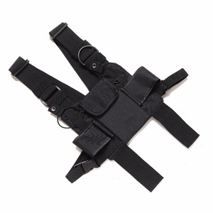 Image 5 - Nylon Tactical Chest Bag Holster Pouch 3 pockets Adjustable for Yaesu Baofeng UV 5R uv5r uv 82 uv82 Walkie Talkie iPhone Samsung