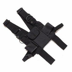 Image 5 - Nylonowa taktyczna torba na klatkę piersiowa kabura 3 kieszenie regulowane dla Yaesu Baofeng UV 5R uv5r uv 82 uv82 Walkie Talkie iPhone Samsung