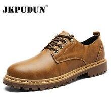 JKPUDUN Männer Martin Stiefel Leder Vintage Winter Schuhe Männer Luxusmarke  Wasserdichte Arbeitsstiefel Männer Italienische Casual Herren 26c623b7e8