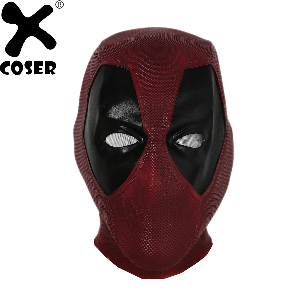 XCOSER Mise À Jour Film Vesion Deadpool Cosplay Masque Rouge Latex Pleine Tête Visage Casque Deadpool Cosplay Costume Props Halloween Masque
