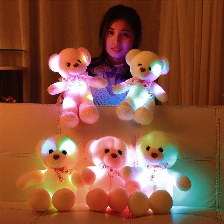 Light Up LED Bear Plush Anime Stuffed Animals Plush Toy Colorful Glowing Plush Stuffed Bear Christmas Gift for Kids