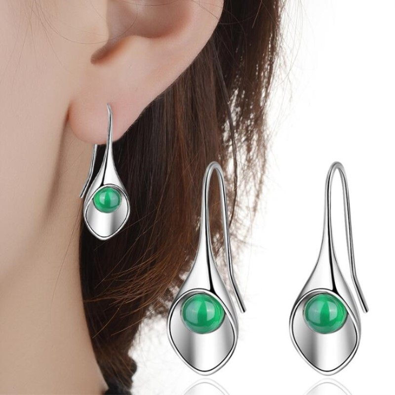 New 925 Sterling Silver Jewelry Ear Hooks Female Fashion Two Colors Stone Crystal Long Temperament Gift Dangle Earrings  SE345